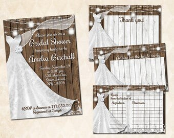 Rustic bridal shower printable invitation wedding dress invite set with activities for the guests mason jar recipe thank you card advice