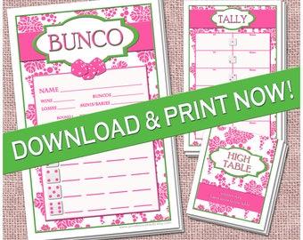 Pink & Green Preppy Printable Bunco Set