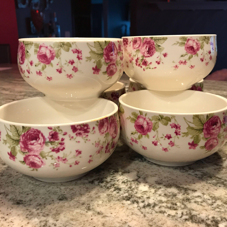 China Bowls Set of 6 Pink Rose Pattern Gracie China Serving Dinnerware Sets & China Bowls Set of 6 Pink Rose Pattern Gracie China Serving ...
