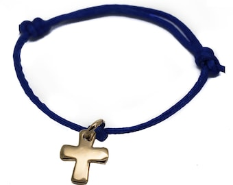 Cross cord bracelet - gold-plated