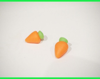 2 small carrots fimo polymer clay cabochons