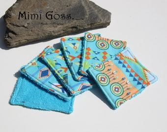 set of 6 washable wipes Terry/cotton fabric.