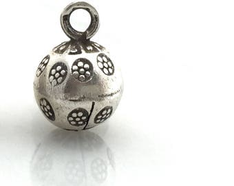 Hill Tribe Thai Silver Hand Stamped Flower Round Bell Charm Bohemian Finding Jewelry Making Supplies Beading Supply, Sundance Style, Pendant