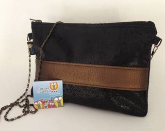 Clutch - Look aged leather - Black - Brown - removable chain - made in France