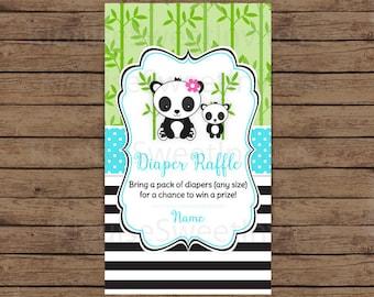 Printable Blue, Green and Black Panda Baby Shower Diaper Raffle, JPEG 300DPI, 3.5x2 inches