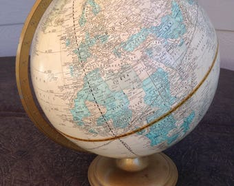 Vintage Crams Imperial World Globe on Metal Stand