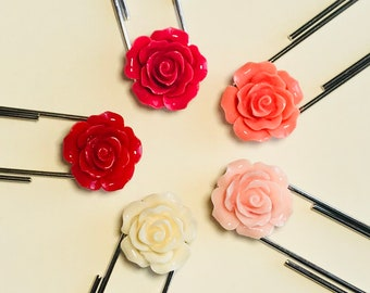 BUNDLE (5) Spring Flower Bookmark - Rose Cabochon Jumbo Paperclip... one of each color!