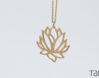 Lotus necklace, Yoga Style, Solid Gold Lotus, Flower Design, Yoga Jewelry, 14k Solid Gold, Gift For Her, Gold Lotus Necklace, Zen Necklace