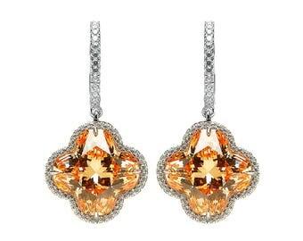Colourful Champagne Flower Earrings