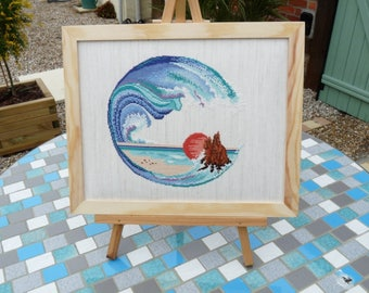 Hand embroidered wave painting