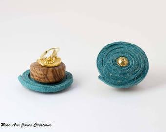 Blue Suede and wood earrings