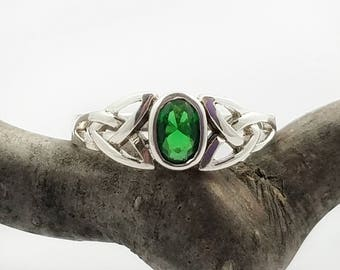 Emerald Green Ring~Silver Emerald CZ Ring~Emerald Green CZ Celtic Ring~May Birthstone~Celtic Promise Ring~Trinity Ring~Gift for Girlfriend