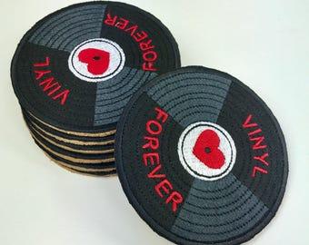 Vinyl Record Coaster, Cork, Embroidered