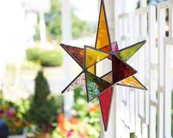 Large Autumn stained glass Moravian star, stained glass Christmas star, glass suncatcher, stained glass star, 3-D glass star, Autumn decor