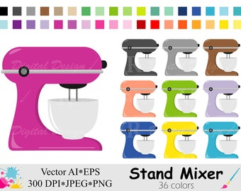 Stand Mixer Clip Art, Cake Mixer Clipart, Rainbow Kitchen Mixer Clipart, Planner Stickers Clipart, Instant Digital Download Vector Clip Art