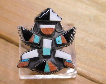 Sterling Silver Zuni Knifewing Kachina Ring Size 7.75