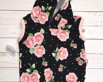 Luca Floral sleeveless hooded top • Tank top hoodie • girls tank top with hood • blank floral cross