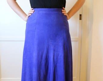 Vintage Midi Length Indigo Suede Skirt