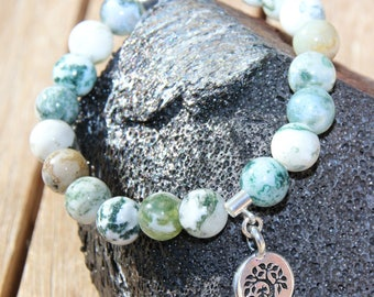 MOSS agate tree with tree of life connector bracelet