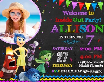 Inside Out Invitation Birthday Inside Out Party