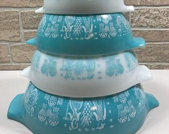 Vintage Pyrex Turquoise Amish Butterprint Cinderella Mixing Bowl Set 4 Bowls
