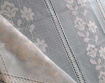 "Vintage Lace remnant, Floral Vertical Stripe, 1yd x 60"" wide"
