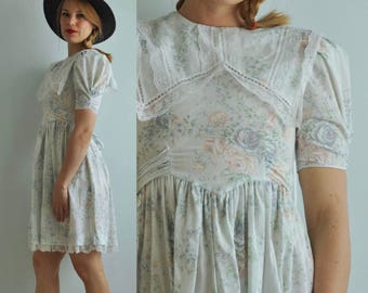 Vintage Gunne Sax Sailor Dress // Light Blue Floral & Lace // Jessica McClintock // Tagged Size 10 - Fits Like 0