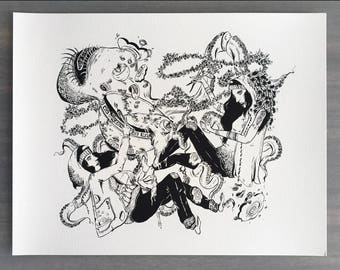"""Ramen Whippers Art Print    8.5x11""""    Black and white print, ink illustration, archival"""