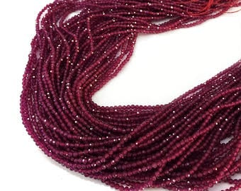Natural Ruby Beads, 2mm Ruby Round beads , Faceted Ruby Beads, Ruby Beads, Rubies, Gemstone Beads , July Birthstone, 15.5 inch  Strand