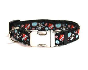 Dog collar  'Skull & Crossbone' Metal Buckle  Size S - XXL