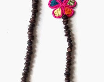 Necklace made in real beads coffee
