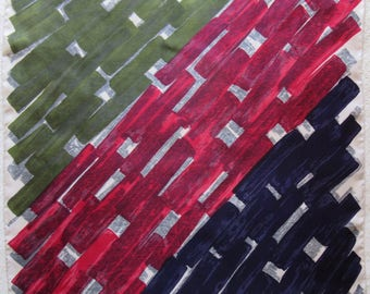 JACQMAR vintage 1950'S silk scarf painterly block work design 74 x 76 cm