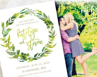 greenery save the date // printable save the date // PDF // save the date postcard // garden wedding // save the dates // wreath