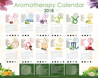 Aromatherapy Calendar 2018 with Zodiac Signs, Essential Oils and Moon Phases - A2 Size - 59.4cmx42xm