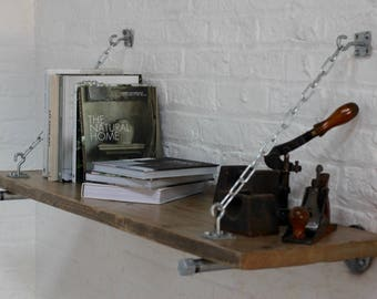 Susie Reclaimed Scaffolding Board Shelf with Galvanised Steel Pipe Wall Brackets and supporting chains - made to order industrial furniture
