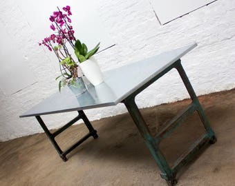 saunders industrial zinc topped table with vintage reclaimed metal workers workbench legs made to measure
