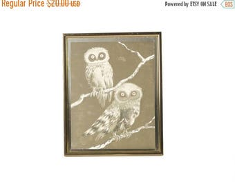 SALE Vintage Silver Foil Owl Art FREE SHIPPING!