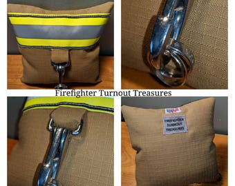 Firefighter Turnout Treasures Small wedding Ring Bearer Pillow with Helmet Snap Ring Clip...Made in USA.