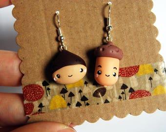 Chestnut and Acorn earrings polymer clay-Kawaii Collection Autumn
