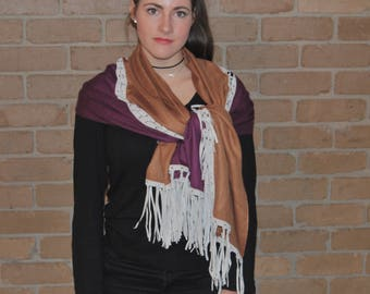 Re Make Popular Demand Silk Cashmere  cloak/shawl twin colour with suede tassels