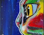 Space Cat (Original Feline Painting from Missoula, Montana); Outer space themed, perfect gift for animal, wildlife, and kitty lovers. Meow!