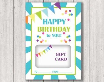 Birthday Gift Card Holder, Printable Gift Card Holder, Happy Birthday, Gift Card holder, Instant Download, Birthday Gift Card, Birthday Card