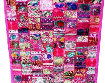 """Bohemian Hand Embroidered Patchwork Wall Hanging Table Cover Pink Wall Hanging Patchwork Throw 60"""" X 40"""""""