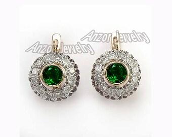 14k Rose and White Gold Genuine Diamond & Chrome Diopside Earrings   E1125