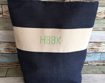 Navy Classic burlap and canvas tote/green embroidery
