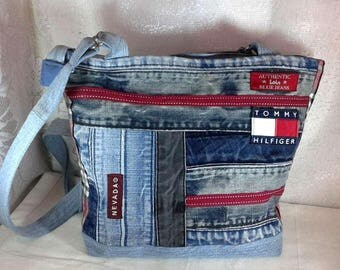 Purse jeans recycled patchwork style, closed with zipper, lined with inside pocket, shoulder