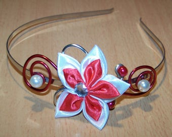Silver Aluminum, satin flower headband, pearls