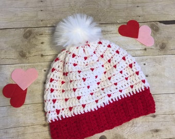 Valentine's Day hat, Girls red and white crochet hat, Girls heart hat, Crochet hat with fur pom pom, Girls winter hat