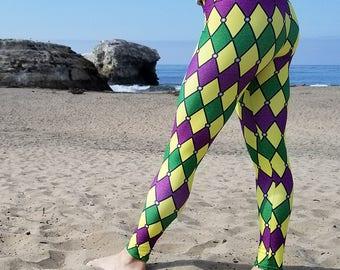 Mardi Gras Leggings, Jester Leggings Tights in Purple, Green and Gold Harlequin Pattern, Mardi Gras Costumes