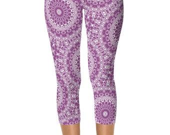 Plum Capris, Purple and White Yoga Leggings, Purple Leggings, Cropped Yoga Pants Capris